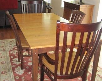 Custom Made Maple and Walnut Exquisite Dining Table/ 6 Chairs- Canadel of Canada