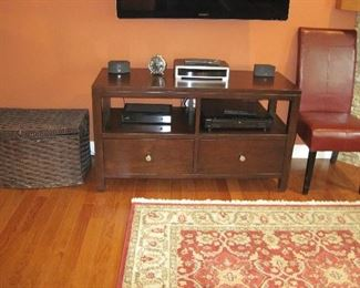 Bassett TV/Media Entertainment Center Console Modern Storage Cabinet, DVD Player, Bose 3-Piece Stereo System, Wicker Storage Box, Upholstered Contemporary Dining Chair, Pottery Barn Alarm Clock