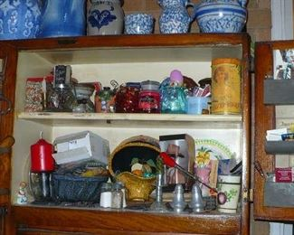 MANY SMALL NICE THINGS IN HOOSIER CABINET