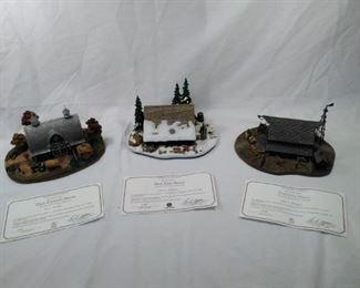lot of 3 Danbury Mint landscape statues. Clover hill farm, the log Barn,Prairie Barn  https://ctbids.com/#!/description/share/152067