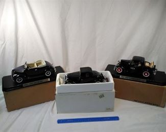 lot of 3 Fairfield mint replica model cars. 1937 Ford Cabriolet, 1934 Ford Roadster, and 1932 Ford Coupe  https://ctbids.com/#!/description/share/152084