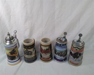 lot of 5 collector Budweiser steins  https://ctbids.com/#!/description/share/152085