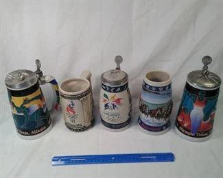 lot of 5 Budweiser Stein's including The Olympics https://ctbids.com/#!/description/share/152086