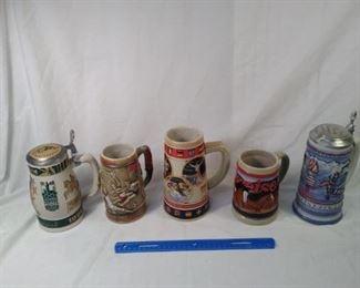 lot of 5 Budweiser collector Steins including Olympics     https://ctbids.com/#!/description/share/152088
