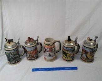 lot of 5 Budweiser collector steins including Hunters companion series      https://ctbids.com/#!/description/share/152089