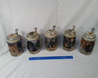 lot of 5 Budweiser collector steins . endangered species  https://ctbids.com/#!/description/share/152090