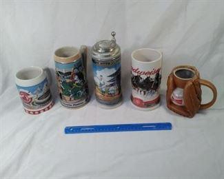 lot of 5 Budweiser steins . baseball themed including Cardinals and Babe Ruth     https://ctbids.com/#!/description/share/152091