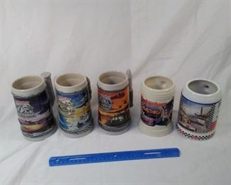 lot of 5 collector Budweiser Steins. Including salute to Air Force, Coast Guard, Army, and NASCAR  https://ctbids.com/#!/description/share/152092