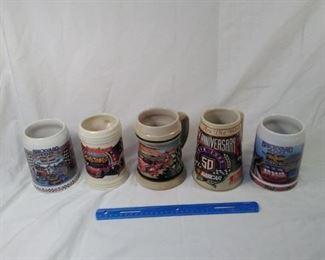 ot of 5 collector Budweiser beer steins. all are NASCAR https://ctbids.com/#!/description/share/152093