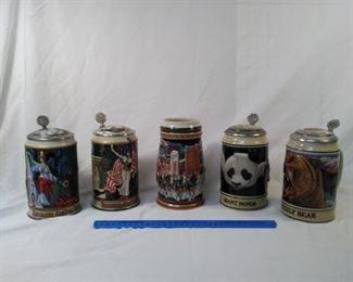 lot of 5 collector Budweiser Steins. Including endangered species series and Budweiser archives series      https://ctbids.com/#!/description/share/152097