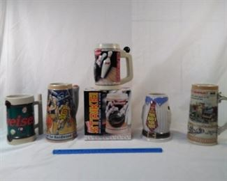 lot of 5 Budweiser and Strohs collector steins. including a bowling, basketball and salute to Dad     https://ctbids.com/#!/description/share/152098