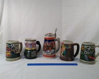 lot of 5 collector Budweiser Steins. Including Luck of the Irish themes  https://ctbids.com/#!/description/share/152100