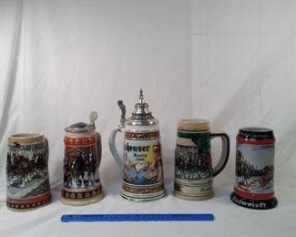 lot of 5 Anheuser Busch Budweiser beer steins https://ctbids.com/#!/description/share/152103