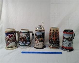 lot of 5 Anheuser Busch Budweiser beer steins    https://ctbids.com/#!/description/share/152106