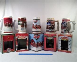 lot of 5 Budweiser collectible beer steins             https://ctbids.com/#!/description/share/152109