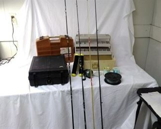 lot of fishing poles, tackle boxes and assorted gear https://ctbids.com/#!/description/share/152120