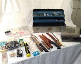 lot of fishing gear, boning knives , tackle box https://ctbids.com/#!/description/share/152121