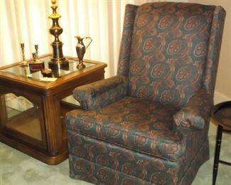 Display table and wing back chair