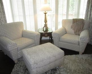 PAIR OF CHAIRS AND OTTOMAN