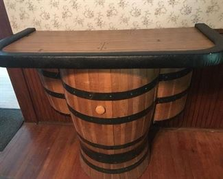 Vintage whiskey barrel bar