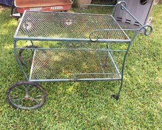 "Vintage Iron Patio Tea/Bar Cart on Wheels        (30"" Length X 18""Wide)"