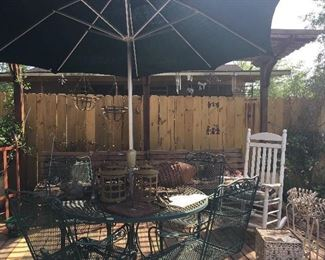 Vintage Iron Patio Set consisting Of      4 Spring Chairs & Table