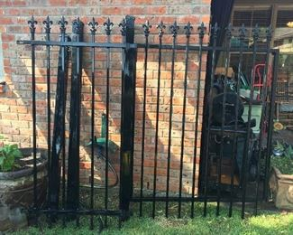 "Beautiful Iron Gate with 3 Post  Gate (52"" Wide x 70"" Tall) Extension (3' Wide)  Total Width is 8.5' X 7' Tall"