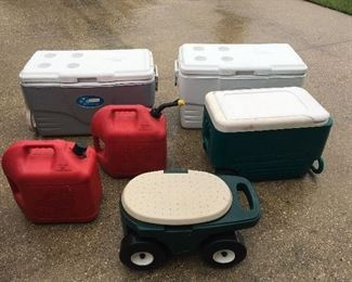 Large Collection Of Ice Chest Gas Cans, Garden Cart  & Camping/RV'ing Items