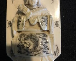 Genuine Ivory Pendant with Ink Etching