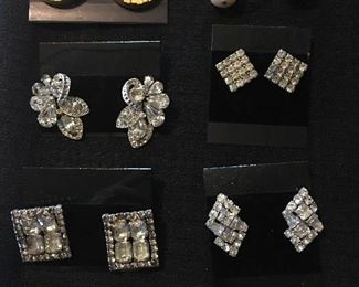 Collection of Vintage Rhinestone Jewelry and Clip On Earrings