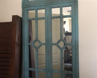 "Lovely  Foyer Mirror with Beautiful Blue Antique/Glazed Finish       (54""W x 28""H)"