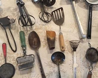 Large Collection Of Very Old Kitchen Utensils