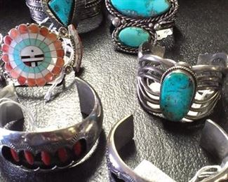 Navajo & Zuni Sterling Turquoise Coral Cuffs