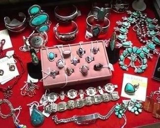 Sterling Lrg selection of Navajo Zuni Jewelry