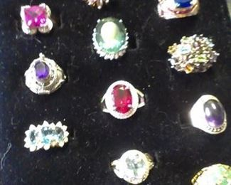 Huge Sterling Gemstones*rings assortment  (*All Presidium Gemstone Duo tested for authenticity...