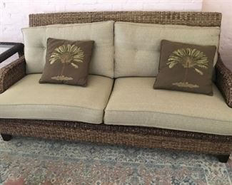 Braxton Culler Rattan sofa, chair, coffee table & two end tables - very good condition