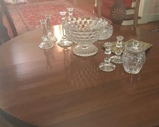 Fostoria Americana punch bowl and other crystal pieces