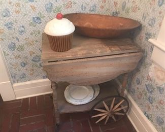 Tea cart is in good shape - needs paint or stain