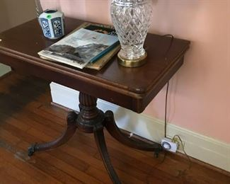 Waterford lamp, Duncan Phyfe style swivel game table.