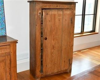 2. Antique Pine Single Door Kitchen Cabinet