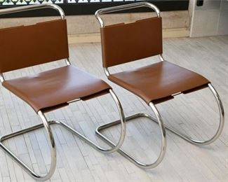7. Pr of Leather and Chrome Chairs Designed by Ludwig Mies van der Rohe