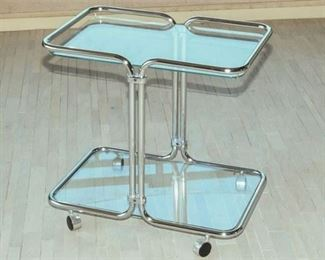 10. Glass and Chrome Two Tier Serving Cart