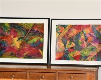 21. Pair of Framed Acrylics by Artis Frances Geiger American