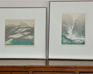 22. Pair of Wood Cuts by Anne Meredith Barry Canadian