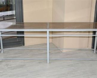 27. Brushed Steel and Granite Double Console