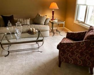 Bernhardt Sofa and Ethan Allen Upholstered chairs, cute coffee and end table and lamps