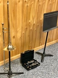 Trombone, clarinet and music stand