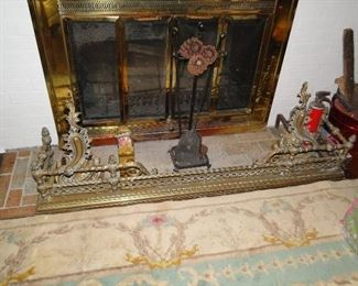Bronze fireplace andirins and front piece