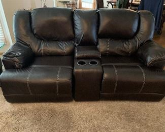 Leather recliner loveseat with cup holders