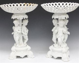"""LOT #5005 - PAIR OF 19TH C. BISQUE FIGURAL COMPOTES, 16"""" H"""